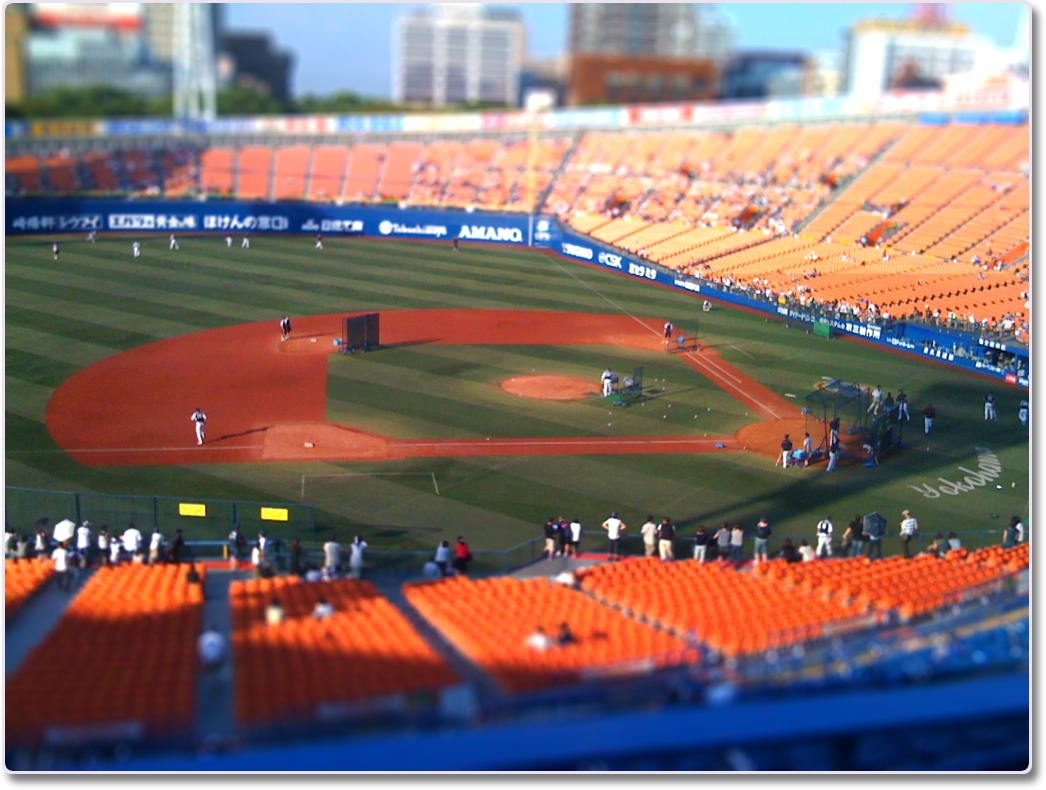 横浜スタジアムのミニチュア風エフェクト